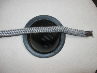 Krbová háčkovaná šňůra šedá  8 mm